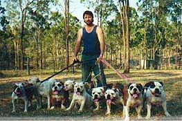 Noel Green with Australian bulldogs