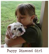girl kissing bulldog puppy