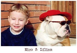 toddler and bulldog with sunglasses